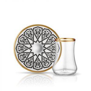 Black & Gold Tea Glass Set (12 Pcs)
