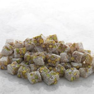 Hard Consistency Turkish Delight with Pistachio Covered by Coconut