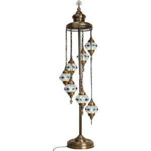 Authentic Footed Floor Lamp with 7 Blue Diamonds Pendants