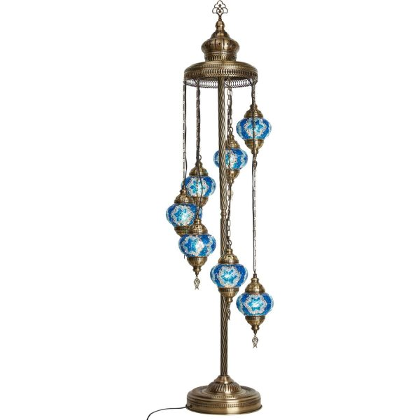 Authentic Footed Floor Lamp with 7 Blue Pendants
