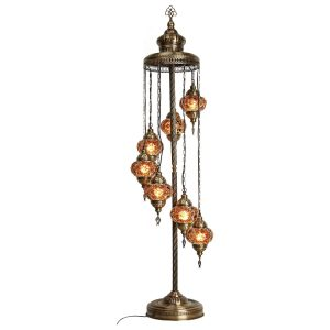 Authentic Footed Floor Lamp with 7 Gold Pendants