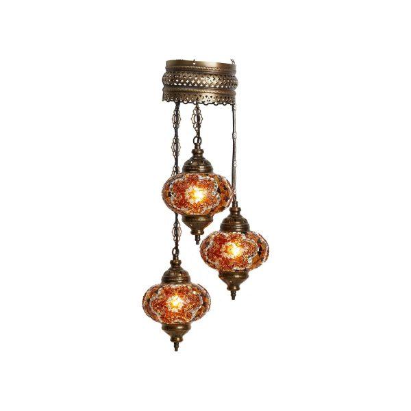 Authentic Pendant Mosaic Lamp, 3 Pendants Gold Color
