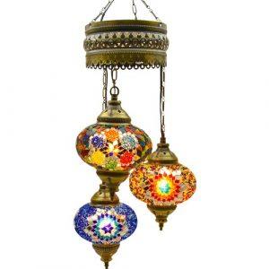 Authentic Pendant Mosaic Lamp, 3 Pendants