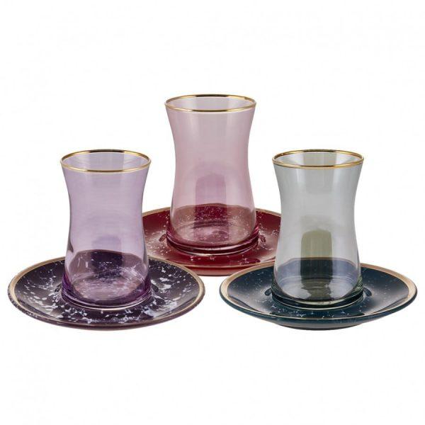3 Colour 1 Set 12 Pieces Tea Set