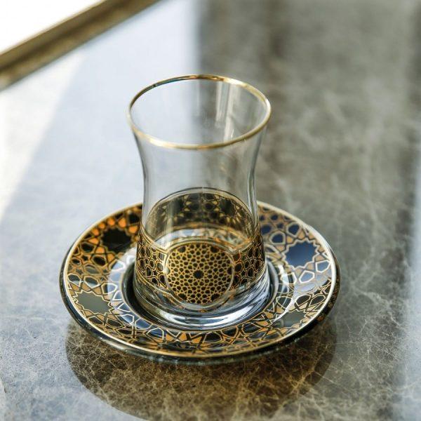 Allaturca Black 18 Pieces Tea Set