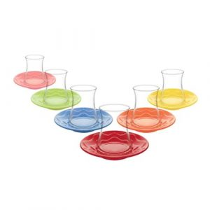 Lav Turkish Tea Glass Set-Lal Colours, 12 pieces