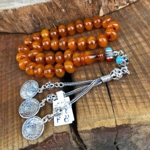 Moire Amber Rosary