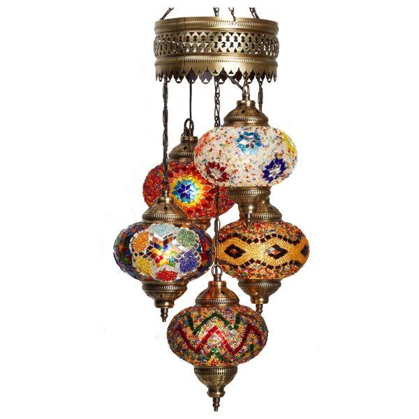 Mosaic Lamp, 5 Pendants Amazing Colors