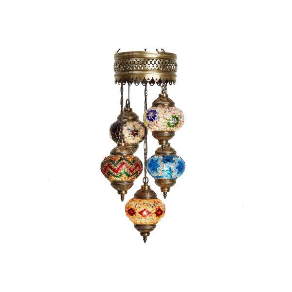 Mosaic Lamp, 5 Pendants Colorful