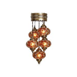 Mosaic Lamp, 5 Pendants Gold & Brown