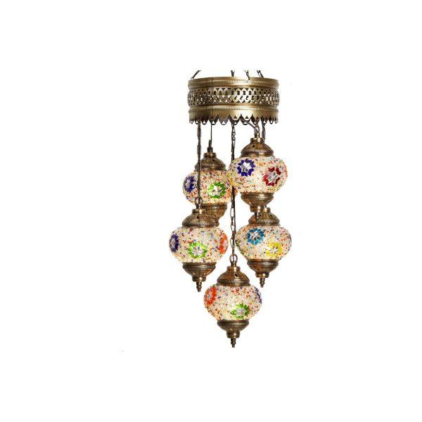 Mosaic Lamp, 5 Pendants Light Stars