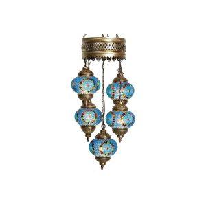 Mosaic Lamp, 5 Pendants Blue