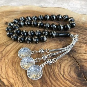 Silver Embroidered Oltu Rosary