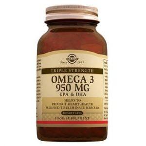 Solgar Omega 3 950mg 100 Softgels Fish Oil