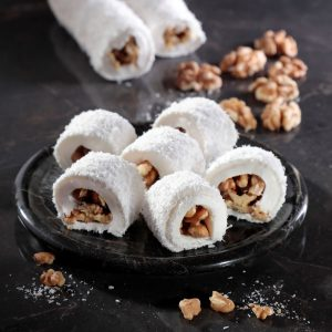 Walnut Filled Coconut Covered Turkish Delight