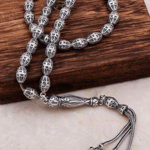 Filigree Embroidered Craftsman Design Silver Rosary 278