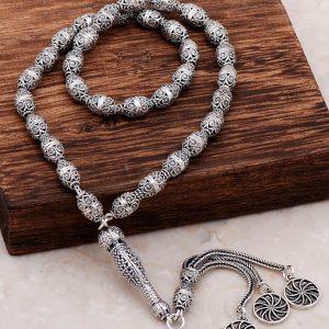 Filigree Embroidered Craftsman Design Silver Rosary 279