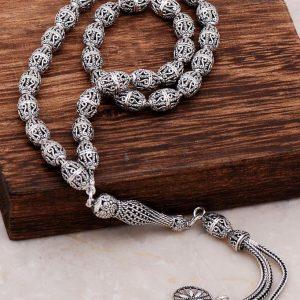 Filigree Embroidered Craftsman Design Silver Rosary 280