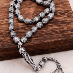 Filigree Embroidered Craftsman Design Silver Rosary 281