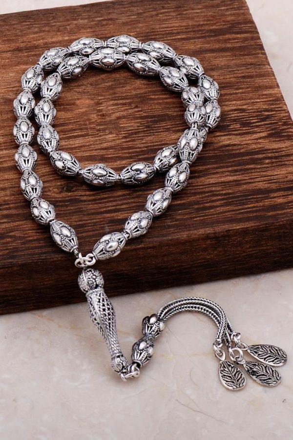 Filigree Embroidered Craftsman Design Silver Rosary 283