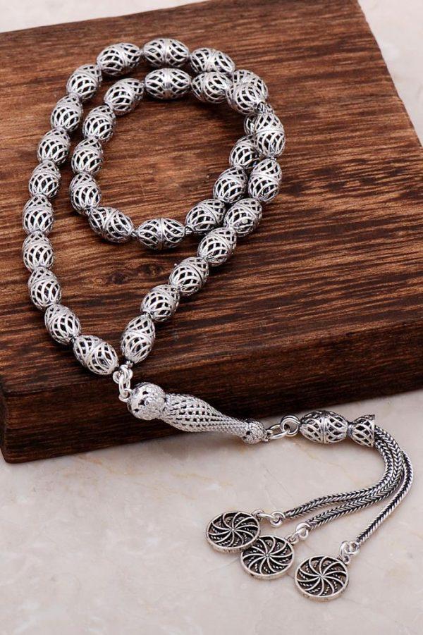 Filigree Embroidered Craftsman Design Silver Rosary 284