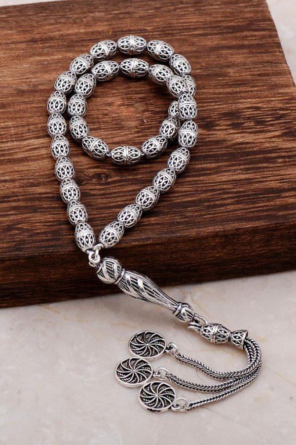 Filigree Embroidered Craftsman Design Silver Rosary 285