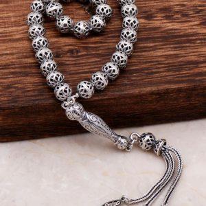 Filigree Embroidered Craftsman Design Silver Rosary 288