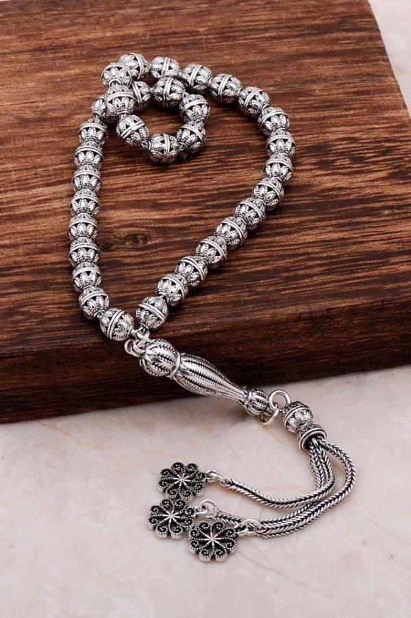 Filigree Embroidered Craftsman Design Silver Rosary 290