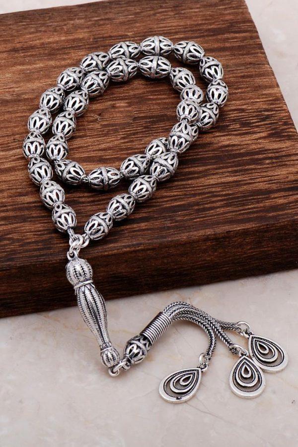 Filigree Embroidered Craftsman Silver Design Rosary 282