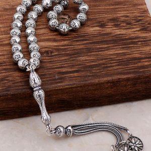 Filigree Embroidered Craftsman Silver Design Rosary 291