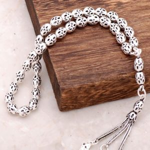 Filigree Embroidered Handmade Oxide Silver Rosary 213