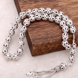 Filigree Embroidered Handmade Oxide Silver Rosary 218