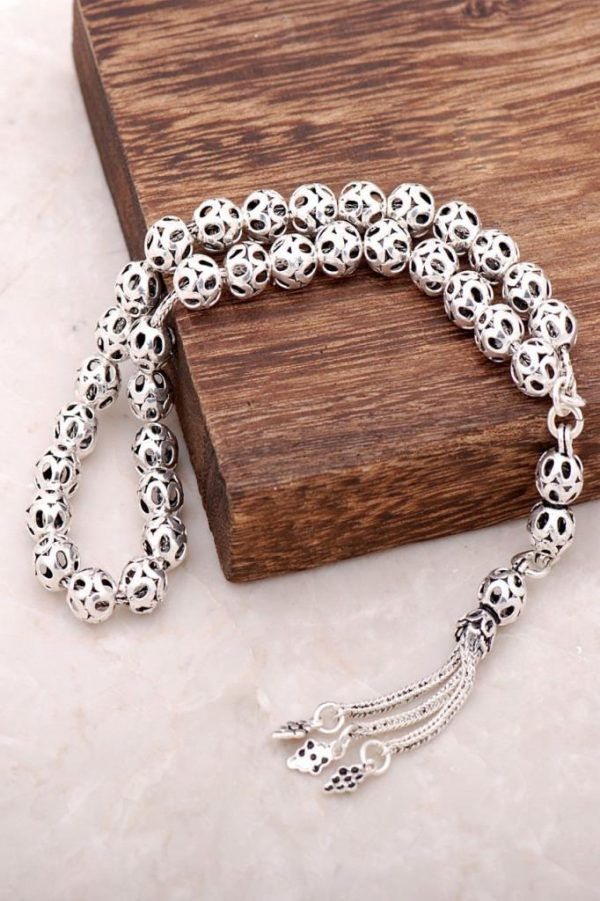 Filigree Embroidered Handmade Oxide Silver Rosary 219