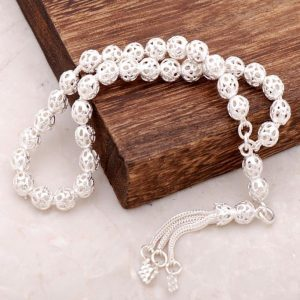 Filigree Embroidered Handmade Silver Rosary 101