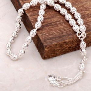 Filigree Embroidered Handmade Silver Rosary 102
