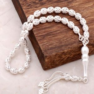 Filigree Embroidered Handmade Silver Rosary 104