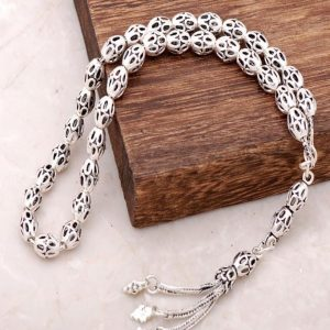 Filigree Embroidered Oxidized Silver Handmade Rosary 261