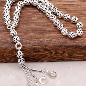 Moon Star Filigree Embroidered Silver Rosary 223