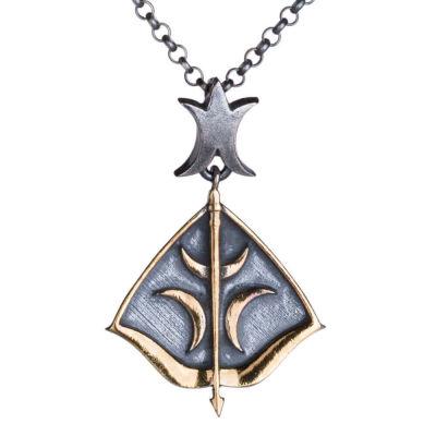 Resurrection Ertuğrul Crescent Arrow Silver Arrow-Bow Necklace