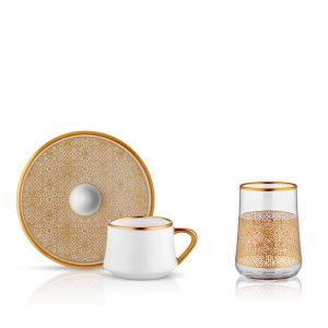 Sufi Coffee Set of 6+6 Cup Gold (18 Pcs)