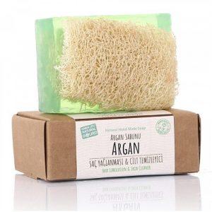 Turkish Natural Handmade Soap Argan with Organic Zucchini Fiber