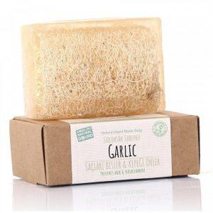 Turkish Natural Handmade Soap Garlic with Organic Zucchini Fiber