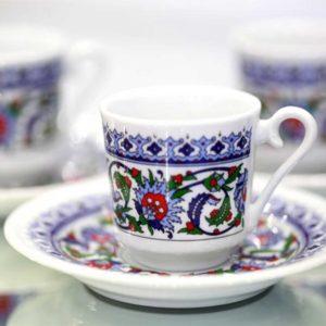 Topkapı Porcelain Turkish Coffee Cup Set (6 cup)