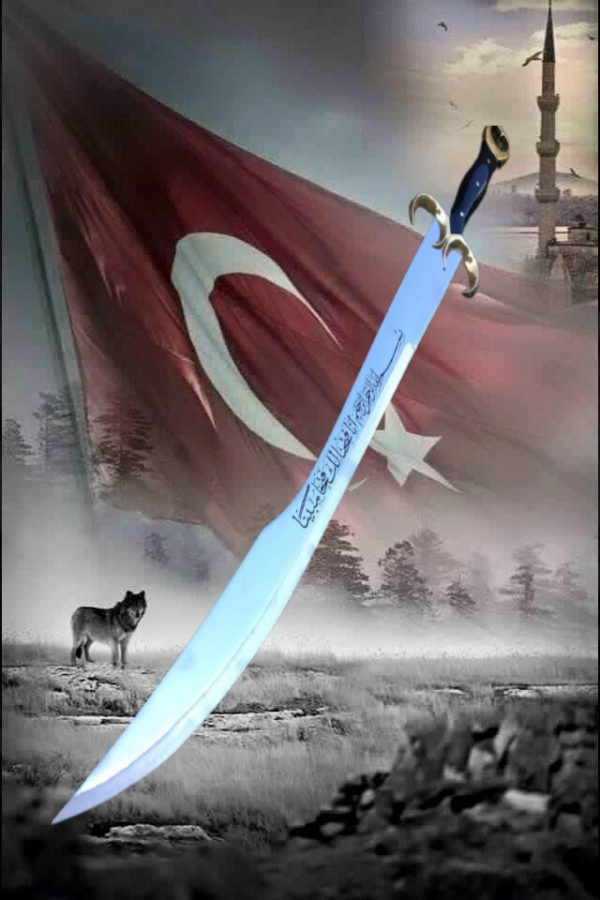 Hand Made Turkish star and crescent Sword 80 cm