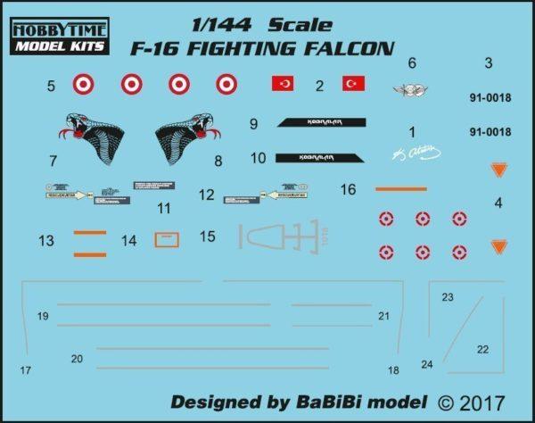Turkish Air Force TUAF F-16  Fighting Falcon Aircraft 1/144 Model