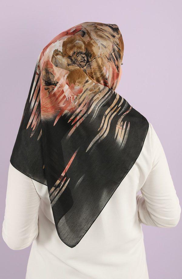 Karaca Patterned Cotton Hijab Black Light Brown