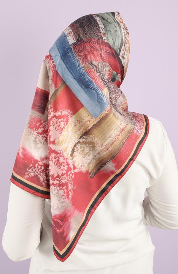 Karaca Synthetic Silk Twill Hijab Red Mustard