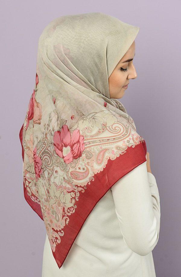 Printed Hijab Maroon
